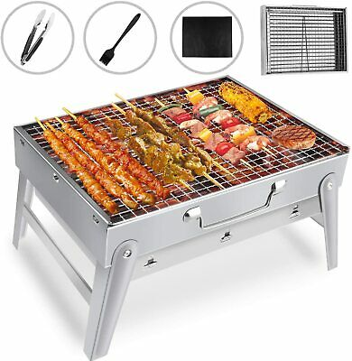 Barbecue Portable BBQ Grill Charbon Bois Table Acier Inoxydable Inox Pliable New