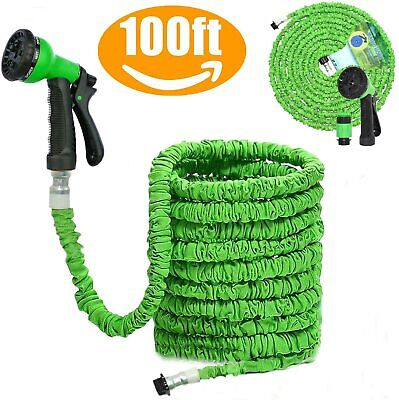 Heavy Duty 100FT Green Expandable Garden Hose Flexible Pipe Expanding Spray Gun