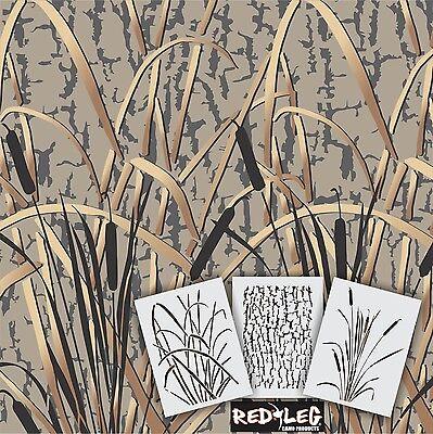 Redleg Camo Stencils GK 3 Piece Grass Wetland camouflage Stencil kit 12
