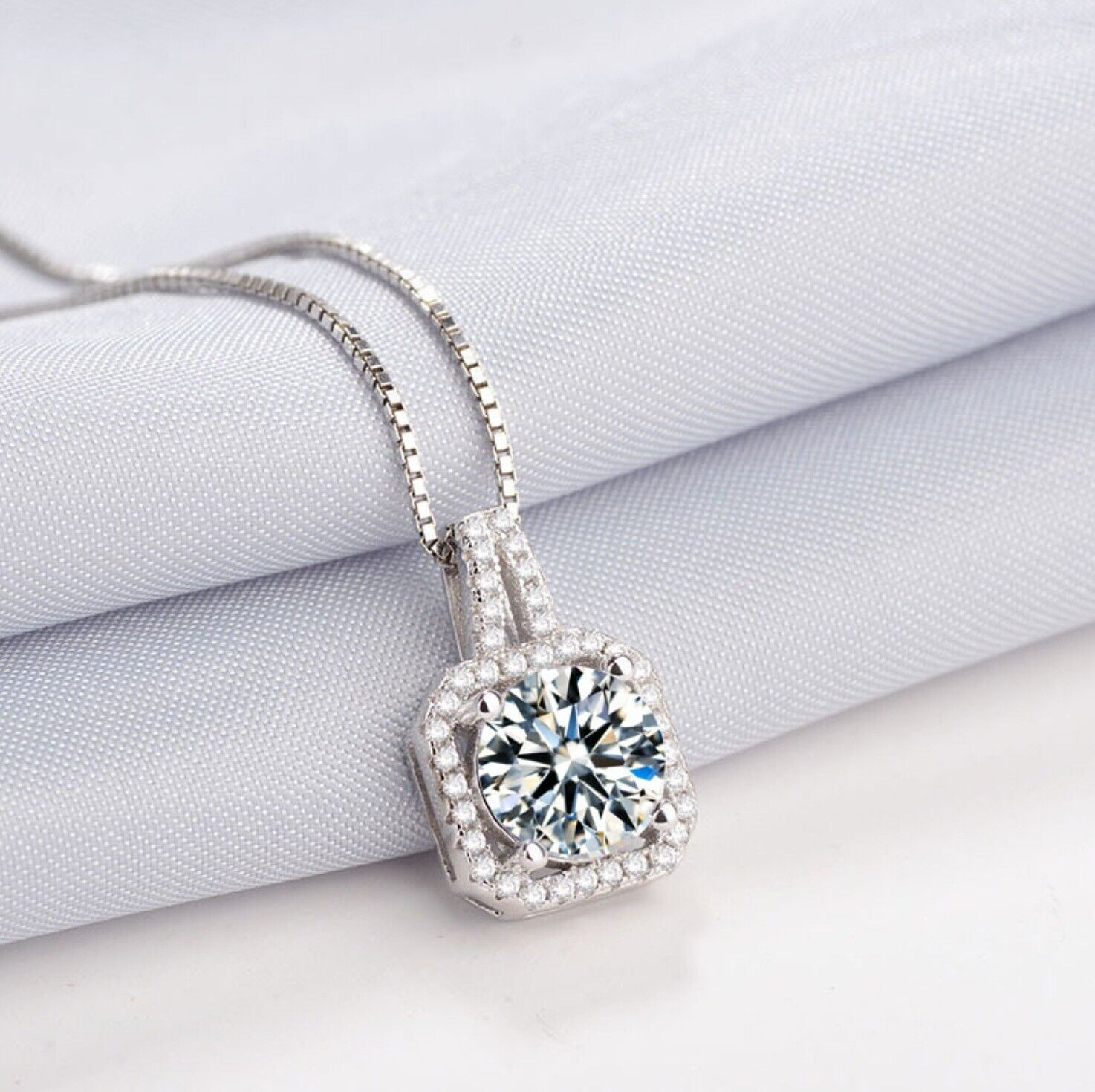 Jewellery - 925 Sterling Silver Crystal Square Stone Pendant Chain Necklace Womens Jewellery