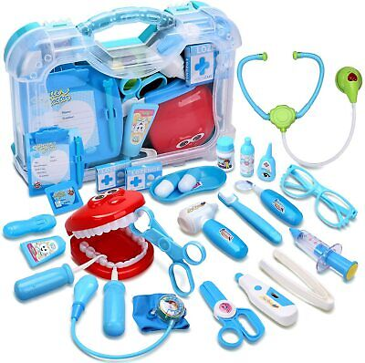 Kids Pretend Play Dentist Doctor Kit Toy Doctor Playset with Carrying Case 30PCS