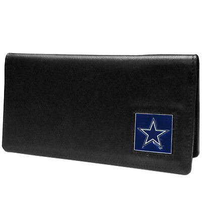 Dallas Cowboys Black Leather Checkbook Cover NFL Football Licensed