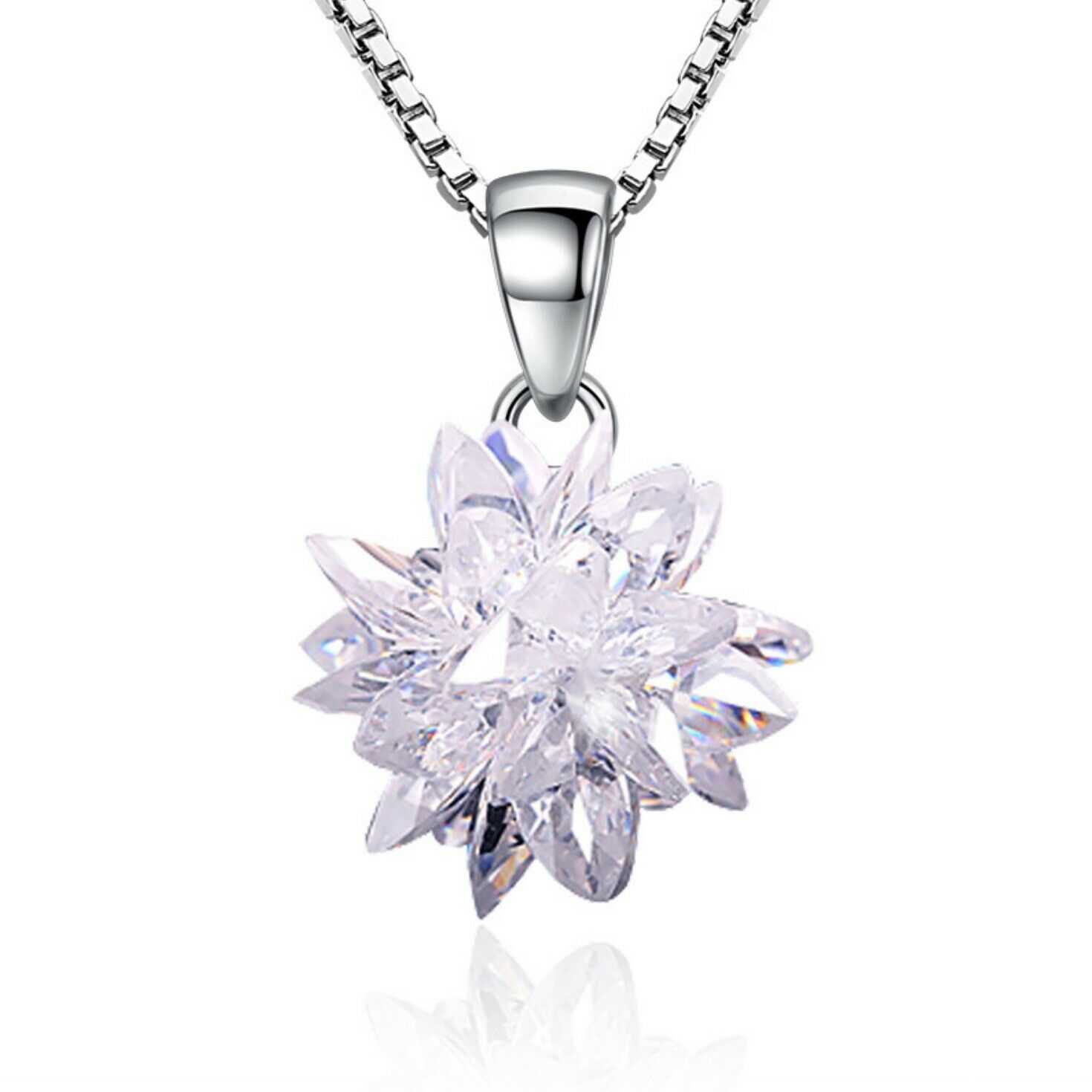 Jewellery - Crystal Ice Snowflake 925 Sterling Silver Pendant Chain Necklace Women Jewellery