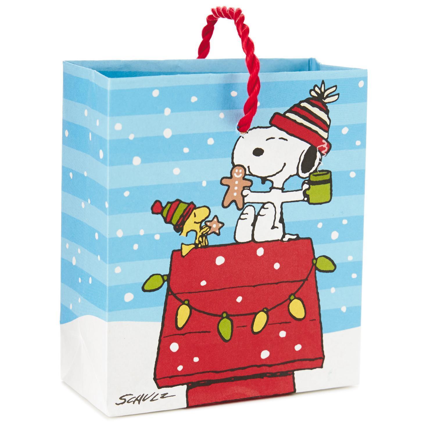 Lot 3 Hallmark Peanuts Snoopy Woodstock Christmas Gift Bag 4