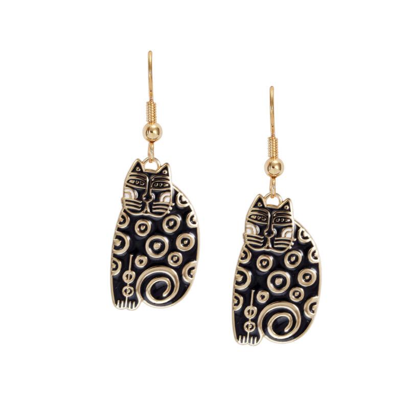 LAUREL BURCH Earrings Jewelry SUNDRY CAT Gold Black Dot Kitten Dangle Drop Charm
