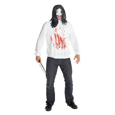 Mens Jeff the Killer Fancy Dress Costume incl Wig Creepypasta Horror Outfit](Costume Jeff The Killer)