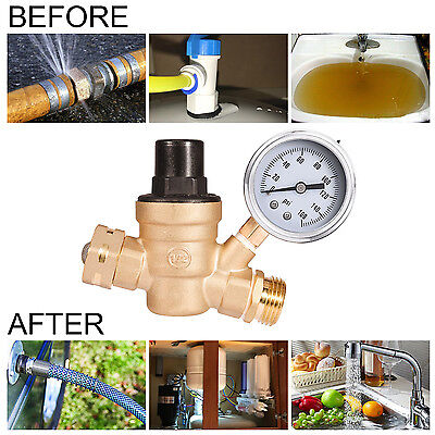Adjustable Rv Water Pressure Regulator W Tainless Steel Gauge 34 Nh Threading