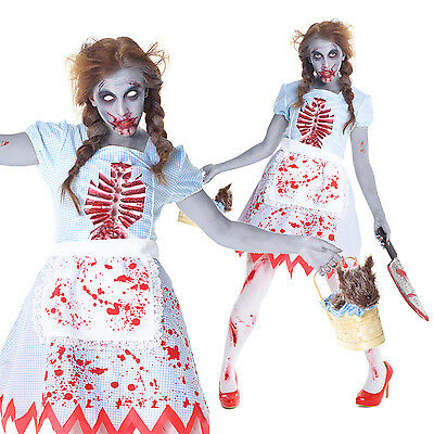 Ladies Womens Zombie Dorothy Halloween Fancy Dress Costume Un Dead Country Girl (Dead Dorothy Halloween Costume)