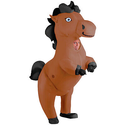 Giant Blow Up Animals (Giant Prancing Horse Inflatable Costume Adult Funny Blow Up Animal Fancy Dress)