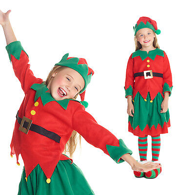 Girls Christmas Elf Fancy Dress Costume Kids Santas Helper Xmas Party Outfit