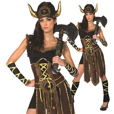 Womens Ladies Viking Barbarian Warrior Princess Fancy Dress Halloween Costume - Viking Lady Costume