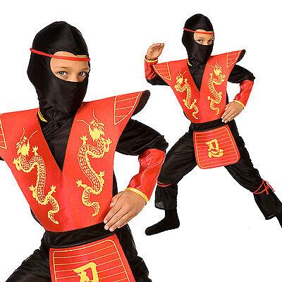 Jungs Roter Drache Ninja Samurai Kostüm Karneval Fasching Verkleidung Red (Jungen Red Ninja Kostüme)