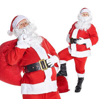 Mens Santa Claus Fancy Dress Costume 7 Piece Adult Father Christmas Santa Suit - Costumes Santa Claus