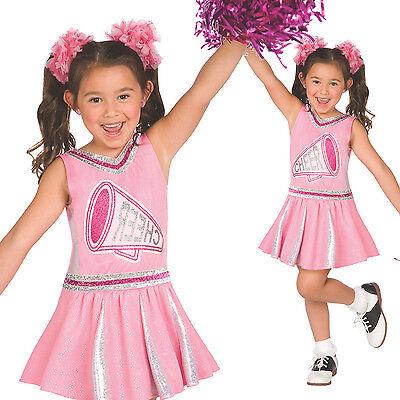 Rosa Cheerleader Kostüm für Mädchen mit Pom Pom - Cheerleader Kostüme Für Mädchen
