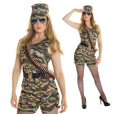 Womens Sexy Army Soldier Girl Fancy Dress Costume Military Combat Chick Outfit](Military Womens Costume)