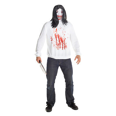 Mens Jeff the Killer Halloween Fancy Dress Costume Mask Wig Creepypasta Horror - Kostüm Jeff The Killer