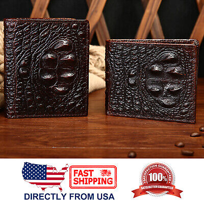 Men's Alligator Embossed Full Grain Leather Bifold Wallet with ID (Full Leather Wallet)