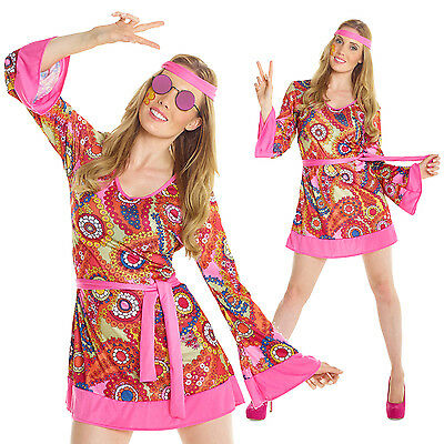 Cheap Womens Hippie 60s 70s Fancy Dress Costume Groovy Flower Power Ladies Hippy