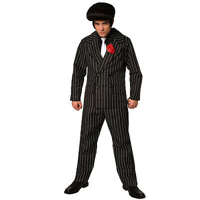 Mens 1920s Outfit (Mens 1920s Gangster Suit Fancy Dress Costume 20s Pinstripe Mafia Boss)