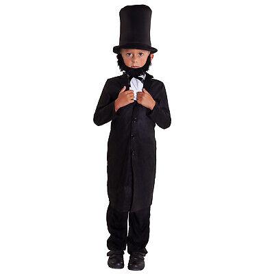 Boys Abraham Lincoln Costume President Honest Abe Fancy Dress Childs 5 - Child Lincoln Kostüm