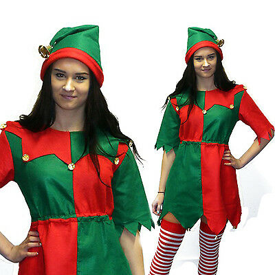 Womens Christmas Elf Fancy Dress Costume Ladies Santas Helper Xmas Pixie Outfit