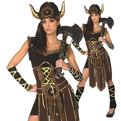 Womens Ladies Viking Barbarian Warrior Princess Fancy Dress Halloween Costume