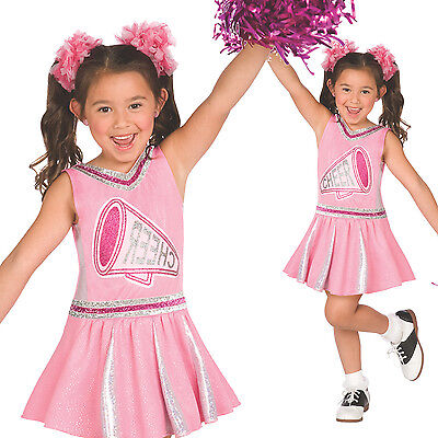 Pink Cheerleader Fancy Dress Costume incl Pom Poms Girls High School Glee Outfit - Glee Cheerleader Costume
