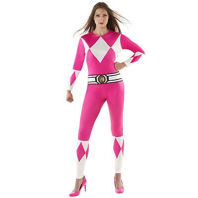 Morphsuits Official Womens Pink Power Rangers Superhero Fancy Dress Costume S