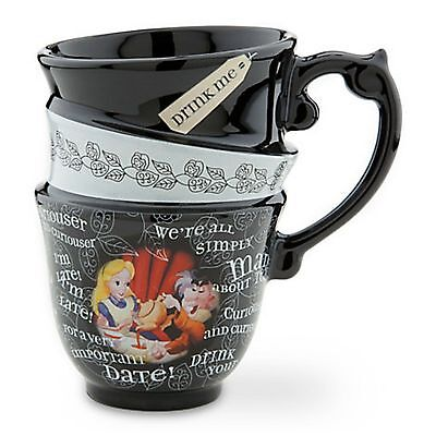 BRAND NEW DISNEY PARKS EXCLUSIVE ALICE IN WONDERLAND STACKED COFFEE TEA MUG CUP