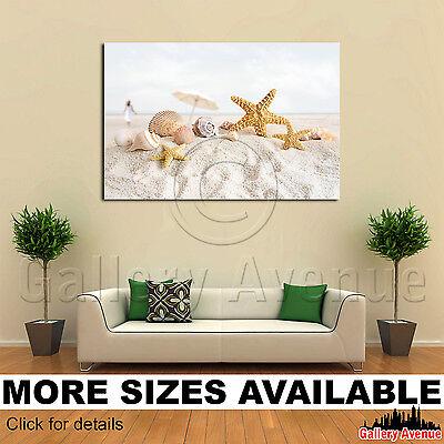 Wall Art Canvas Picture Print - Starfish Shells Beach Scene M001 3.2 - Starfish Wall Art