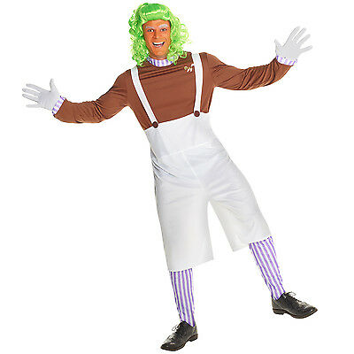 Mens Chocolate Factory Worker Costume Incl Wig Oompa Loompa Tv Book Fancy Dress
