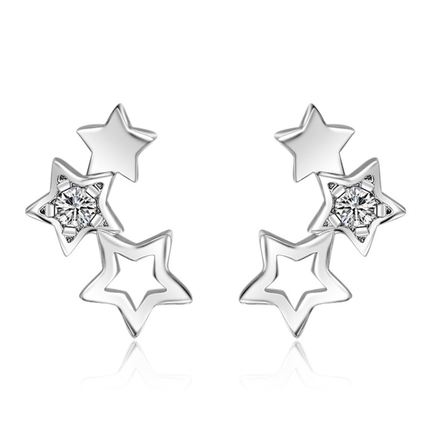 Jewellery - 925 Sterling Silver Triple Star Linked Stud Earrings Womens Girls Jewellery New
