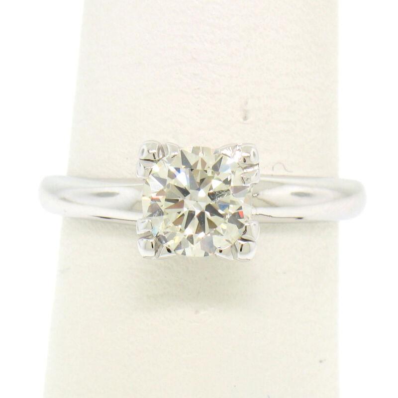 Vintage 14k White Gold 0.83ct I Vvs2 Round Brilliant Cut Diamond Solitaire Ring