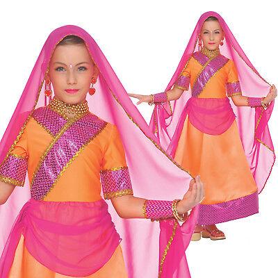 Girls Bollywood Costume Indian Dancer Fancy Dress Veil India Dancing Sari - Bollywood Girl Kostüm