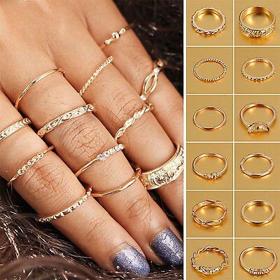 12Pcs/Set Vintage Gold Boho Midi Finger Knuckle Rings  Women Jewelry Gift NS