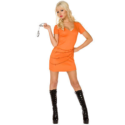 Convict Orange Jumpsuit Fancy Dress Costume Female Inmate (Womens Orange Jumpsuit Kostüm)