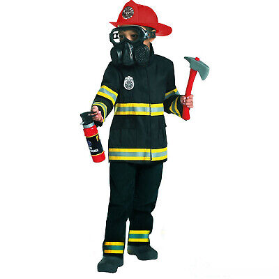 Boys Fireman Firefighter Fancy Dress Costume + Helmet Mask Tools Fire Fighter