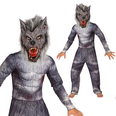 Kids Deluxe Werewolf Costume Boys Halloween Fancy Dress incl Muscle Top + Mask