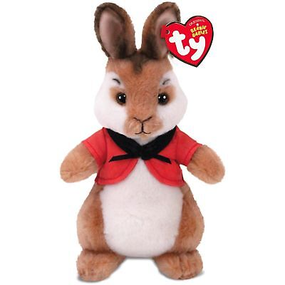 "TY Beanie Baby 8"" FLOPSY Stuffed Animal Plush w/ Heart Tags (Peter Rabbit Movie)"
