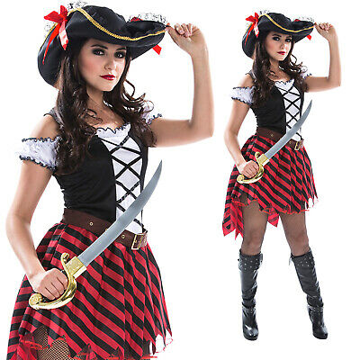 Womens Pirate Wench Fancy Dress Costume + Hat Ladies Caribbean Buccaneer Captain