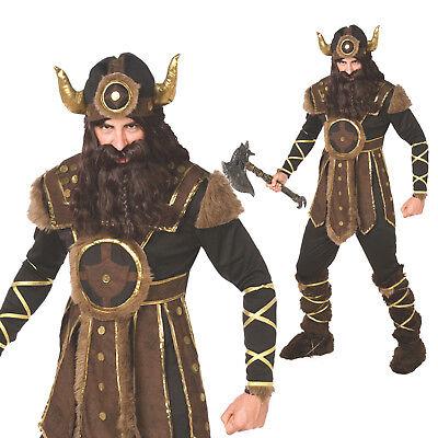 Mens Viking Warrior Fancy Dress Costume incl Helmet Nordic Barbarian Outfit L - Viking Costume Men's