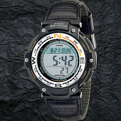 Casio SGW100B-3V Twin Sensor COMPASS Watch Thermometer Green Cloth Band New