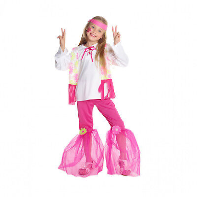 Girls 70s Clothes (SALE Flower Power Hippie Girl Fancy Dress Costume 60s 70s Pink Hippy Kids)