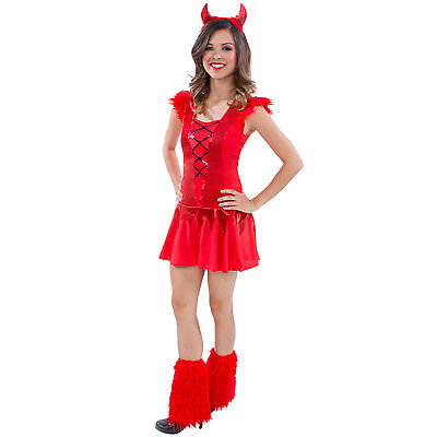 Girls Devil (Teen Girls Red Devil Halloween Fancy Dress Costume Complete Tween Daredevil)