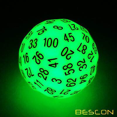 Bescon Super  Jade Glow in Dark Polyhedral Dice 100 Sides, Luminous D100 Dice