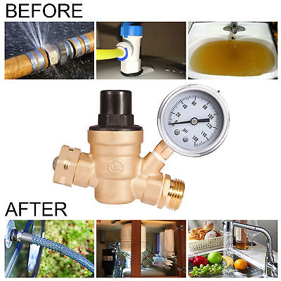 160psi Brass Rv Water Pressure Regulator Wsteel Gauge Adjust 34 Nh Thread