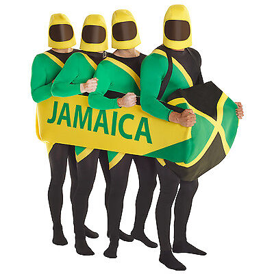 Jamaican Bobsled Team Fancy Dress Costume 90s Bobsleigh Morphsuit Sled Optional