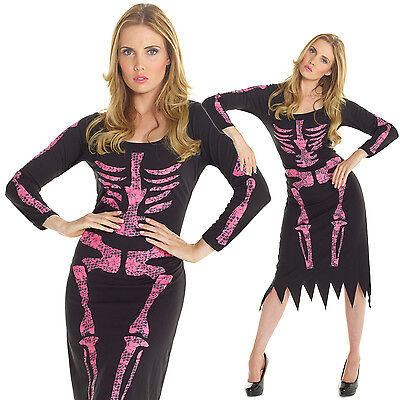 Billig Damen Rosa Skelett Kostüm Karneval Fasching Verkleidung Halloween Kleid