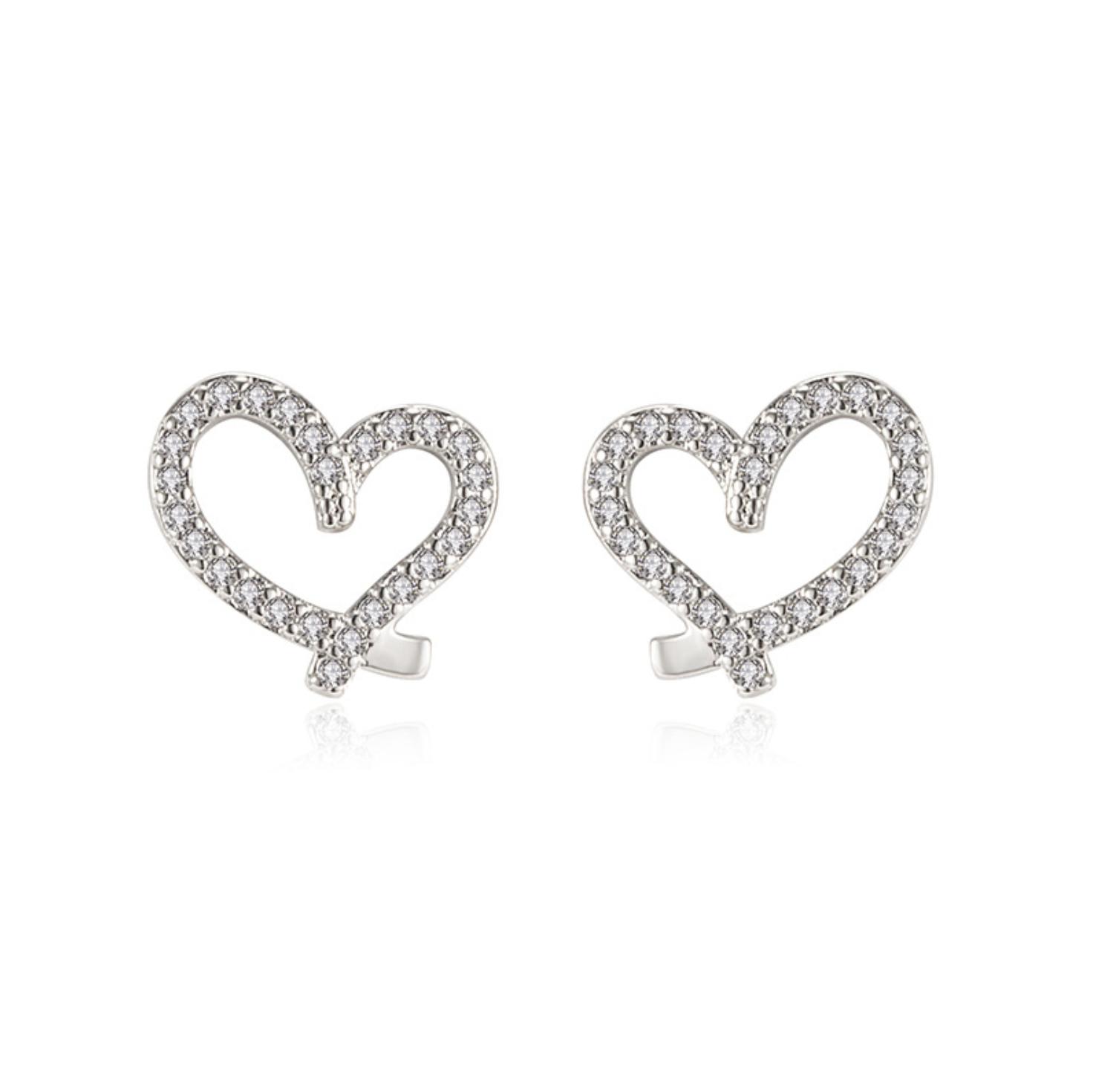 Jewellery - 925 Sterling Silver Hollow Heart Stone Stud Earrings Womens Girls Jewellery Gift