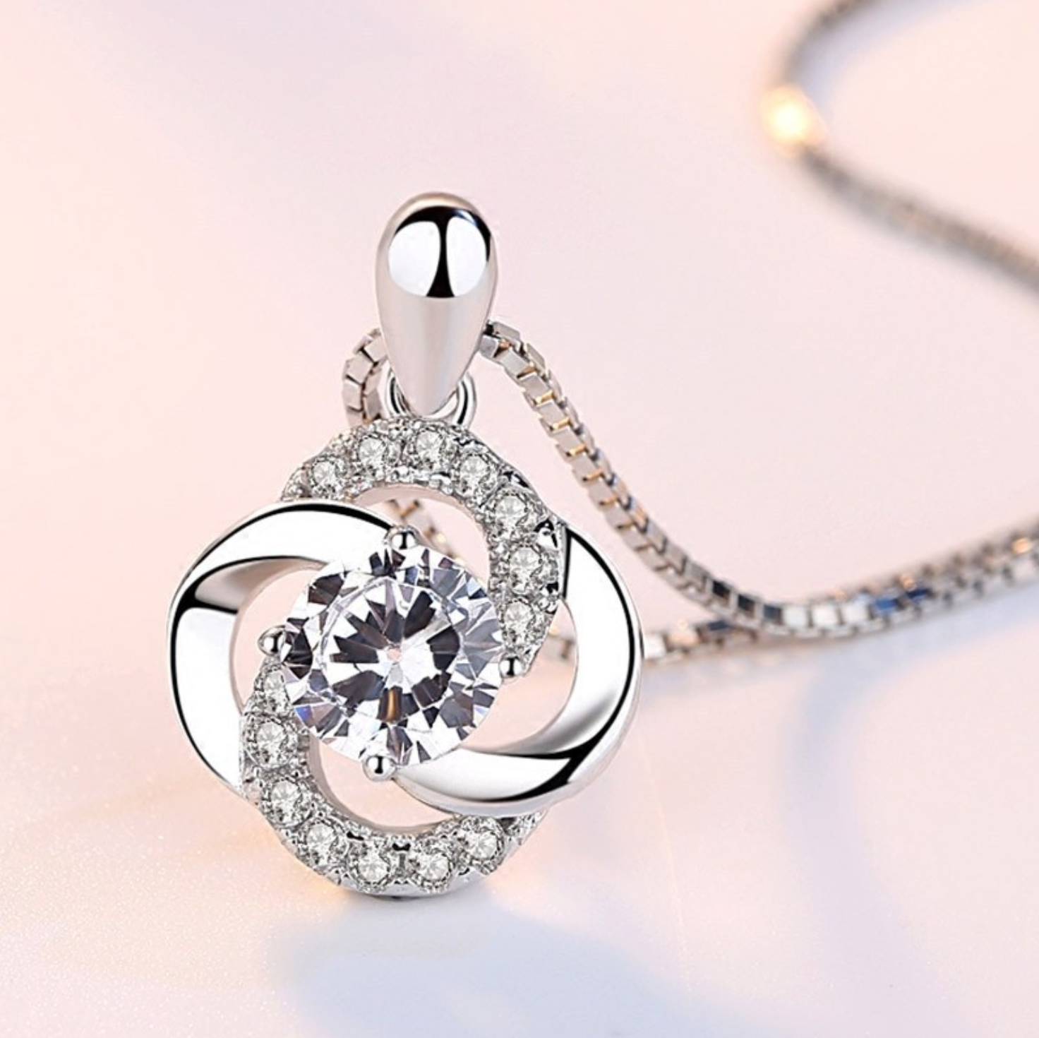 Jewellery - 925 Sterling Silver Crystal Swirl Stone Pendant Chain Necklace Womens Jewellery